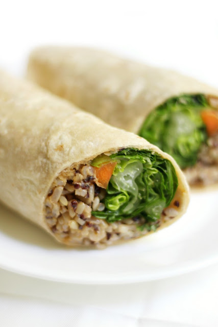 Buffalo Tahini Quinoa & Rice Wraps
