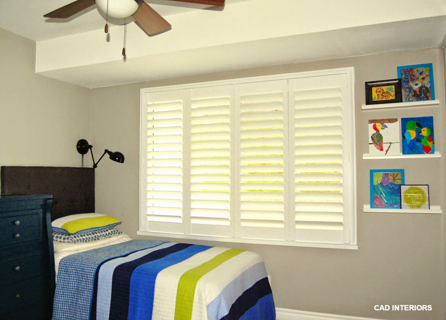 stripes pattern bedroom makeover renovation shutters shared boys bedroom