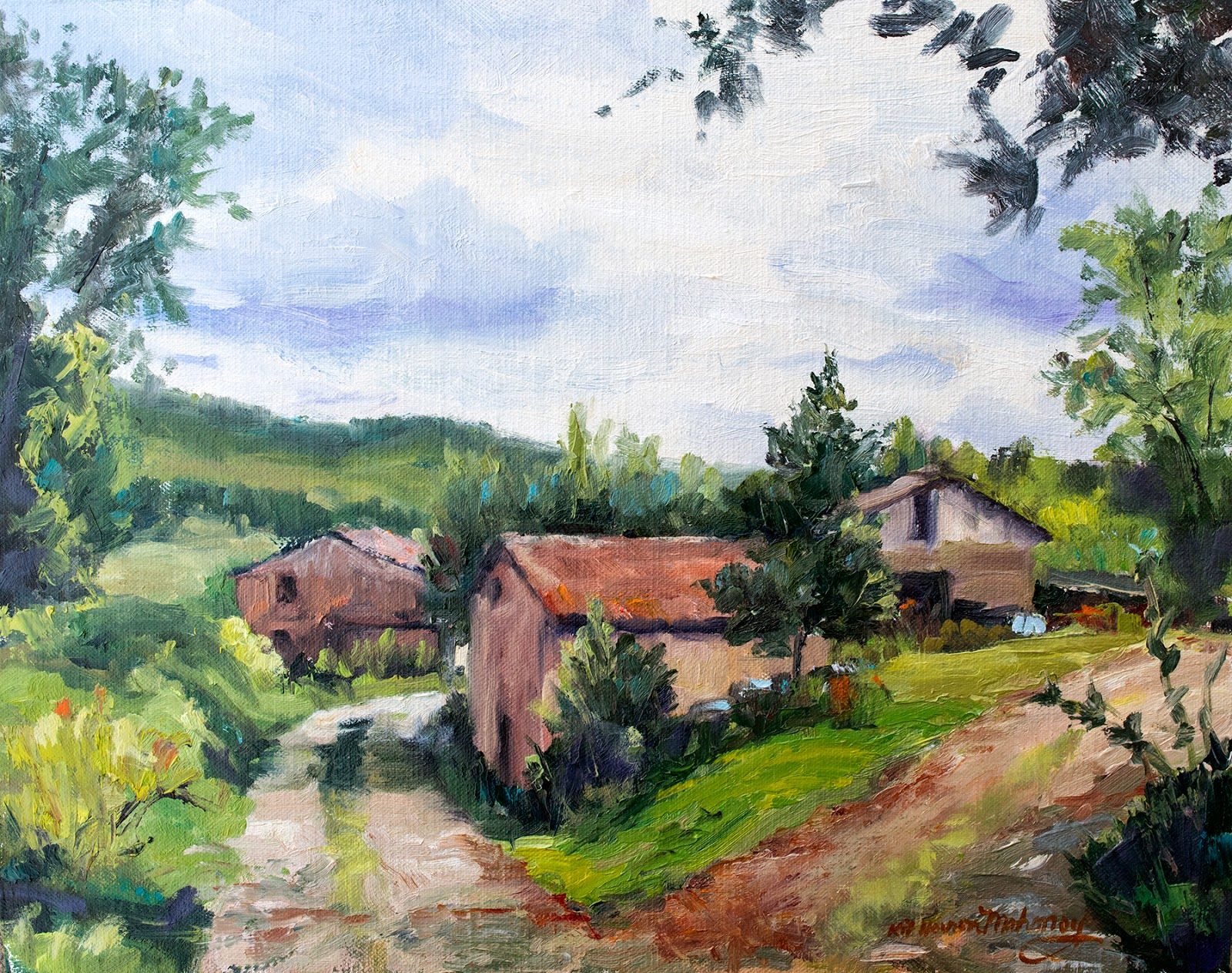 Kit Hevron Mahoney Fine Art: KM3008 Countryside Morning by Colorado ... for Countryside House Painting  110zmd