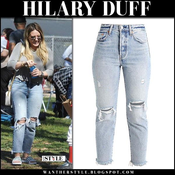 Hilary Duff in grey top, ripped jeans levi's and white slides adidas originals casual celebrity style october 14 2017