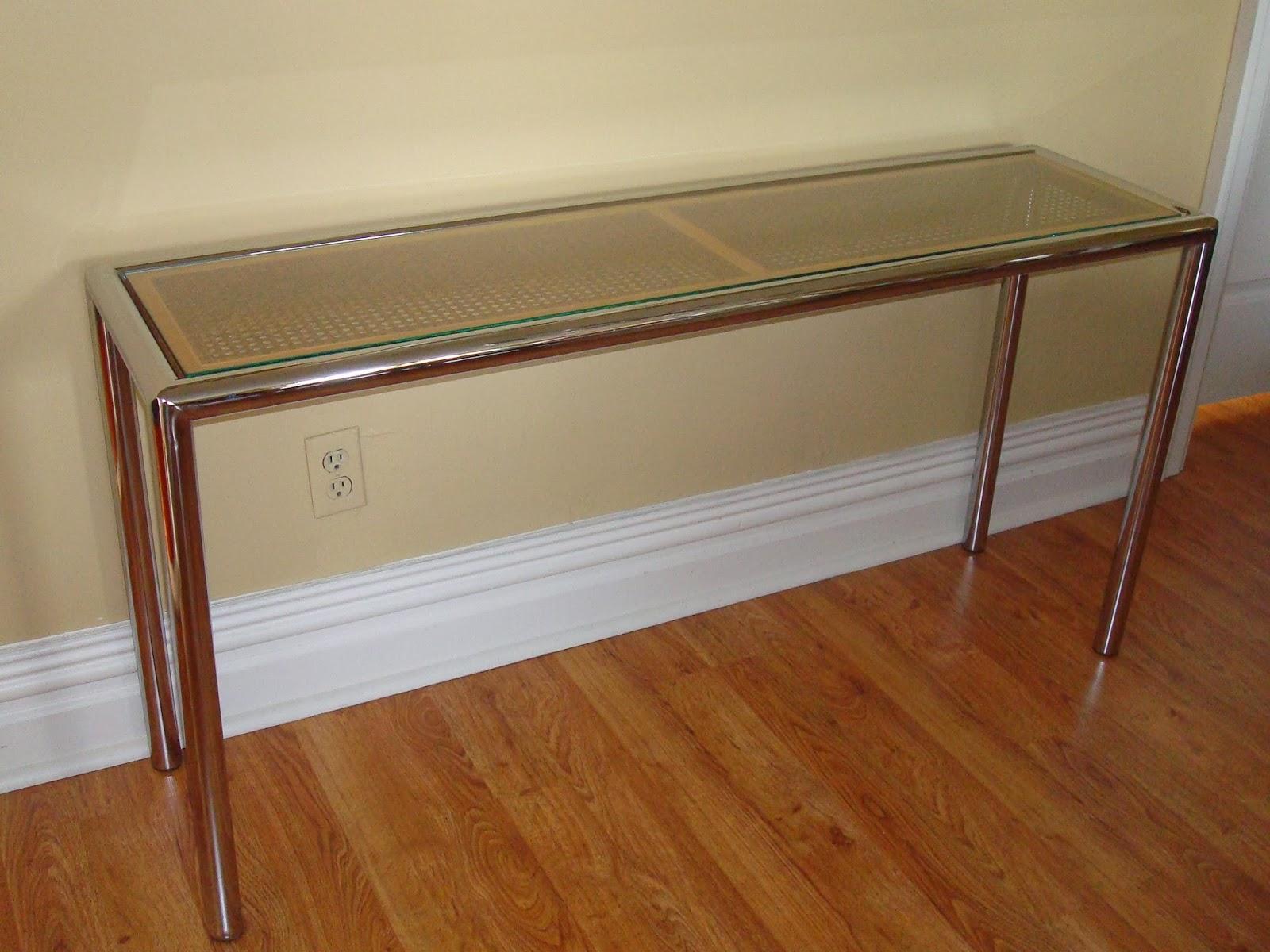 1970´s Milo Baughman tubular Chrome Sofa/Console Table