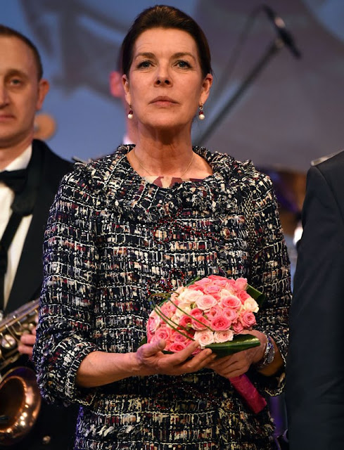 Prince Albert of Monaco and his sisters Caroline, Princess of Hanover and Princess Stéphanie of Monaco attended celebrations of 50th anniversary of the Police Orchestra, style, jewelery, diamond earrings, wedding dress, wedding diamond, fashions