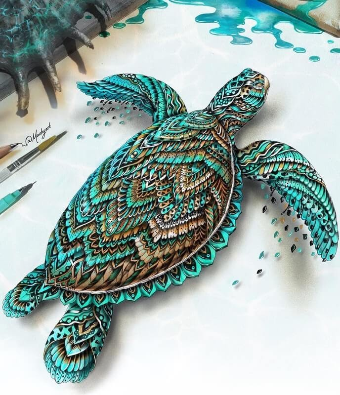 02-Sea-Turtle-Maahyart-Animal-Drawings-Steeped-in-Zentangle-www-designstack-co