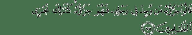 Surat Yusuf Ayat 75