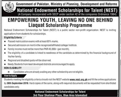 National Endowment Scholarship for Talented, NEST, Pakistan, Eligibility, Method of Application, Application Deadline, Documents Required,