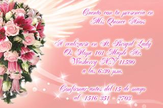 Tarjeta de Confirmación de Invitados Personalizada para 15 Años novedosa rosa con rosas y lirios