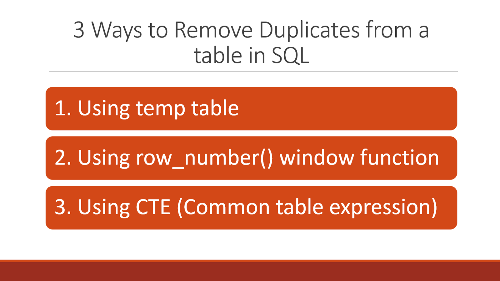 How to remove duplicate rows from a table in sql for Table th scope row