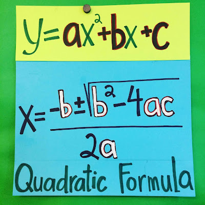 Quadratic Formula anchor chart