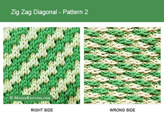Mosaic Knitting - Two Color Knit Stitch Pattern. Right side vs wrong side of the Zig Zag Diagonal stitch - Pattern 2