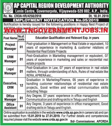 AP Govt Jobs 2019 - Office Asst, Executive, Manager Posts in