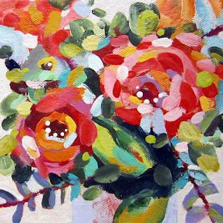 Flower painting by artist Merrill Weber acrylic floral mini framed Celebration 101