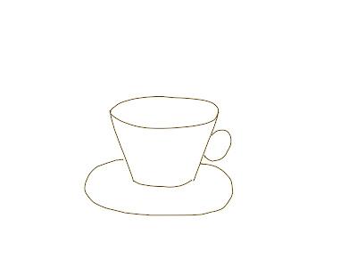 アイコン 「紅茶」 (作: 塚原 美樹) ~ カップのソーサーを描く