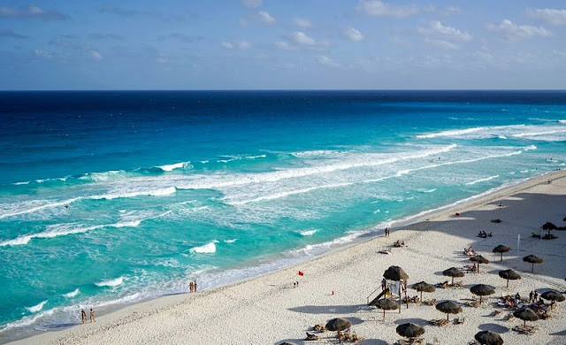 a view of the beautiful coastline on the Cancun beaches