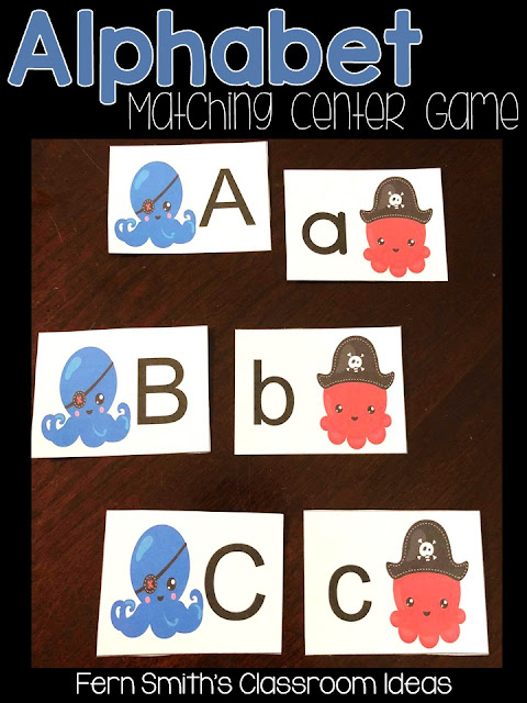 Alphabet Matching Ocean Themed Center Game Freebie