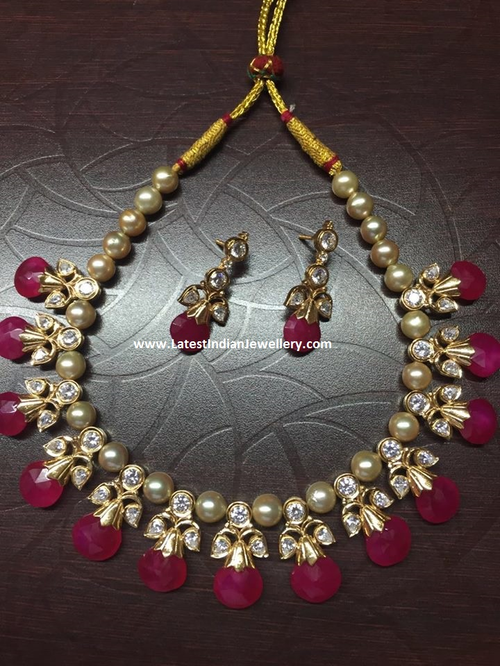 Ruby Drops Kundan Pearl Necklace Latest Indian Jewellery