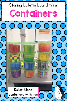 How to organize and store bulletin board trim in Dollar Tree containers