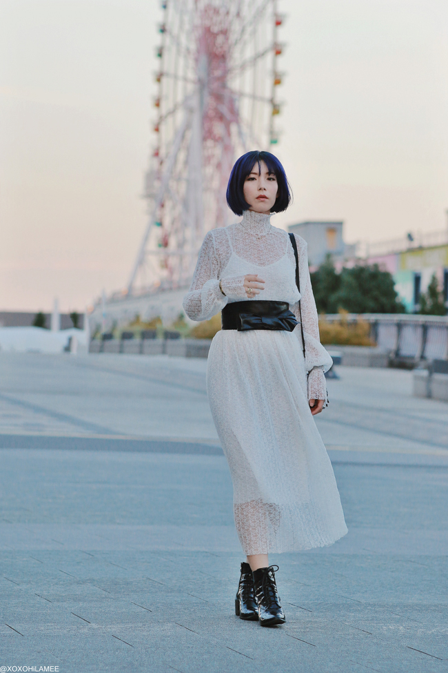 Japanese Fashion Blogger,MizuhoK,20190930OOTD, CHICWISH=white lace dress, CHOIES=laceup boots, ZARA=bag, and more