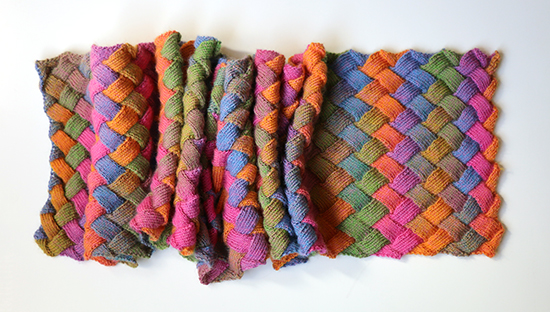Scrunched Scarf Knit with Entrelac Stitch in Multicolor Wool