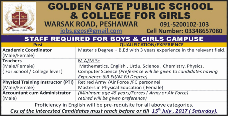 Jobs in Golden Gate Public School & College Peshawar  July 2017