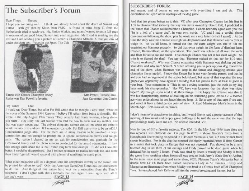 THE AMERICAN GAMEDOG TIMES SEPTEMBER-OCTOBER 1996 | SPORTING DOG NEWS