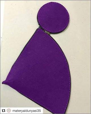 materyaldunyasi35 purple felt cone net unzipped