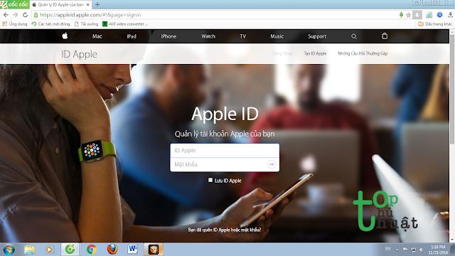 Đăng nhập tài khoản App ID