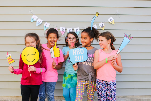 emoji birthday party photo booth and photo booth props