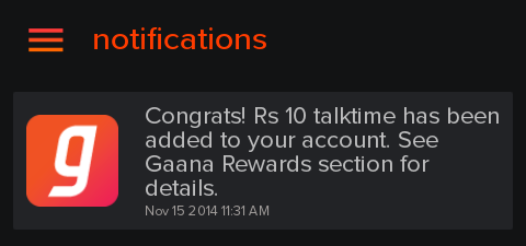 GAANA APP offer INVITE FRIENDS GET RS. 100 FREE RECHARGE