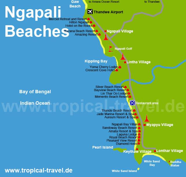 Нгапали карта отелей