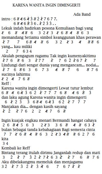 Not Angka Ada Band Karena Wanita Ingin Dimengerti Not Angka Lagu Terbaru Cute766