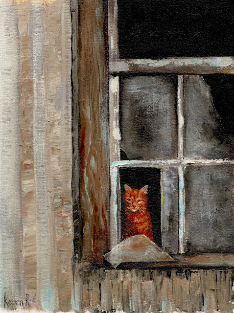The Watcher - an oil painting of a ginger cat in a window