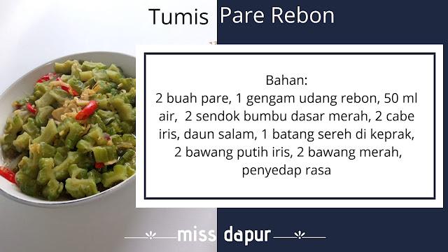 Bahan bahan olahan resep tumis pare rebon