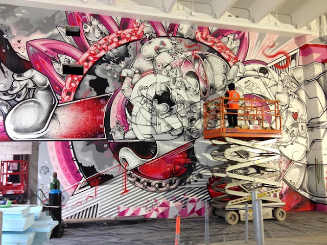 """New Indoor Street Art Project """"Library Street Collective"""" In Detroit, USA With How Nosm, Interesni Kazki, Sainer... 1"""