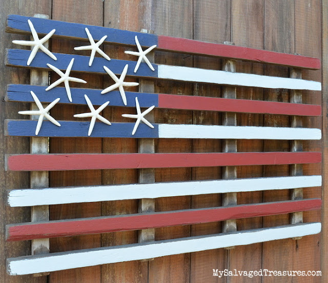 DIY upcycled rustic flag with starfish