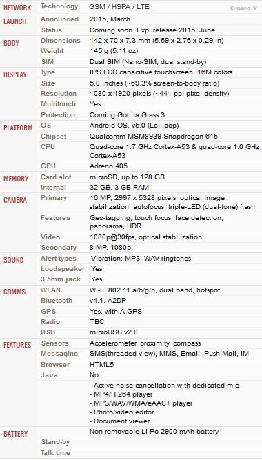 Spesifikasi Lenovo Vibe Shot