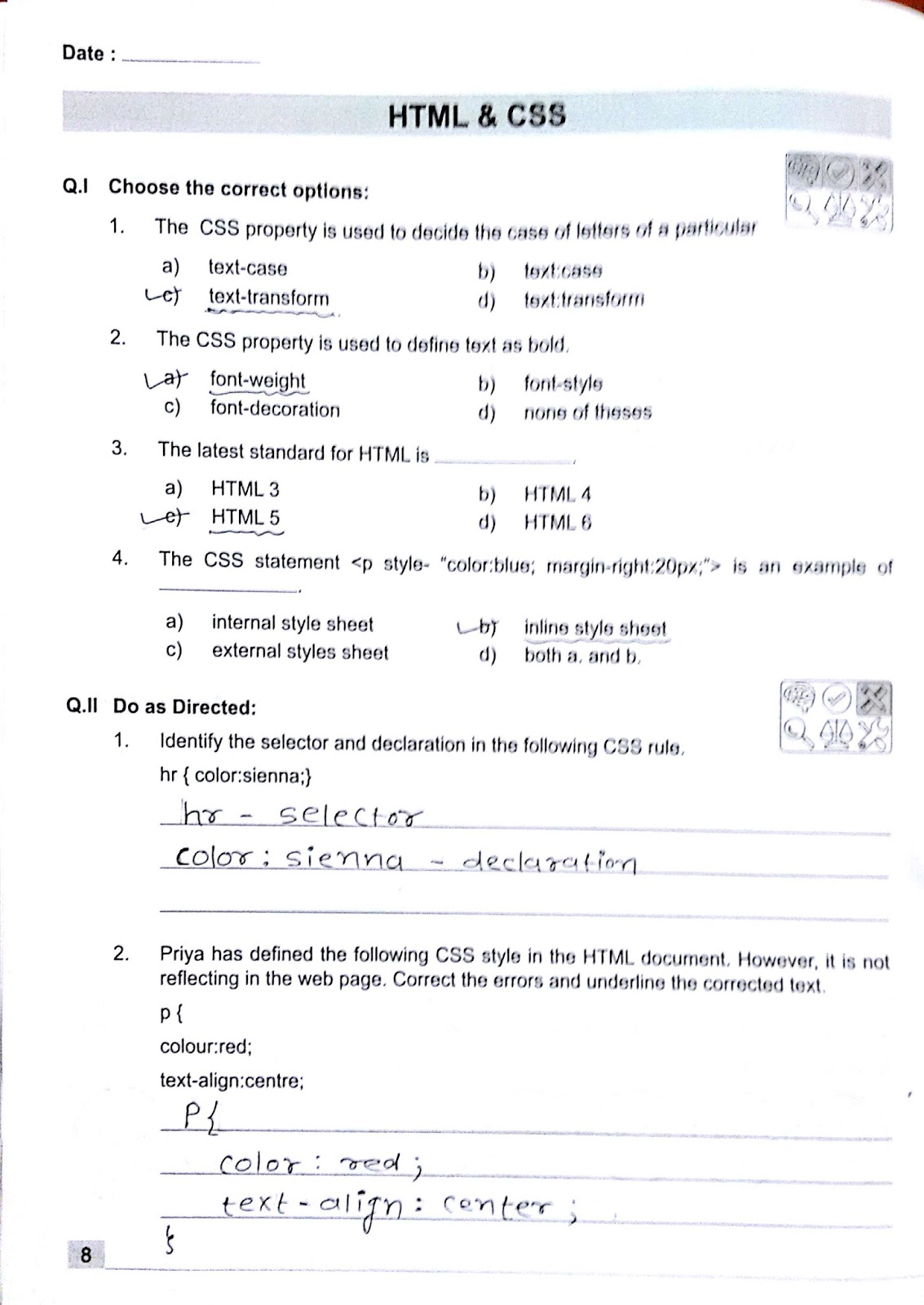 Question And Answer Of Workbook Of Html And Css