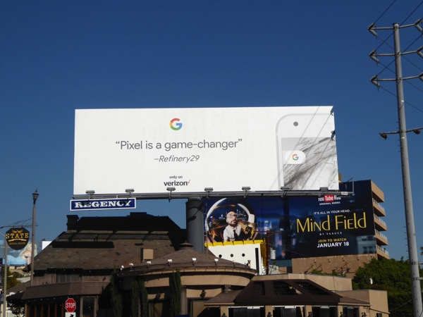 Google Pixel phone game changer billboard