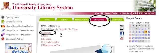 到大學圖書館網站,點E-resourse ,再點E- journal