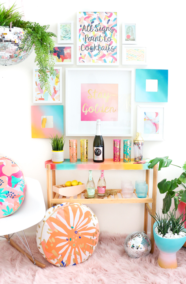 DIY It – A Gradient Bar Cart and Frozen Mimosa Popsicles!