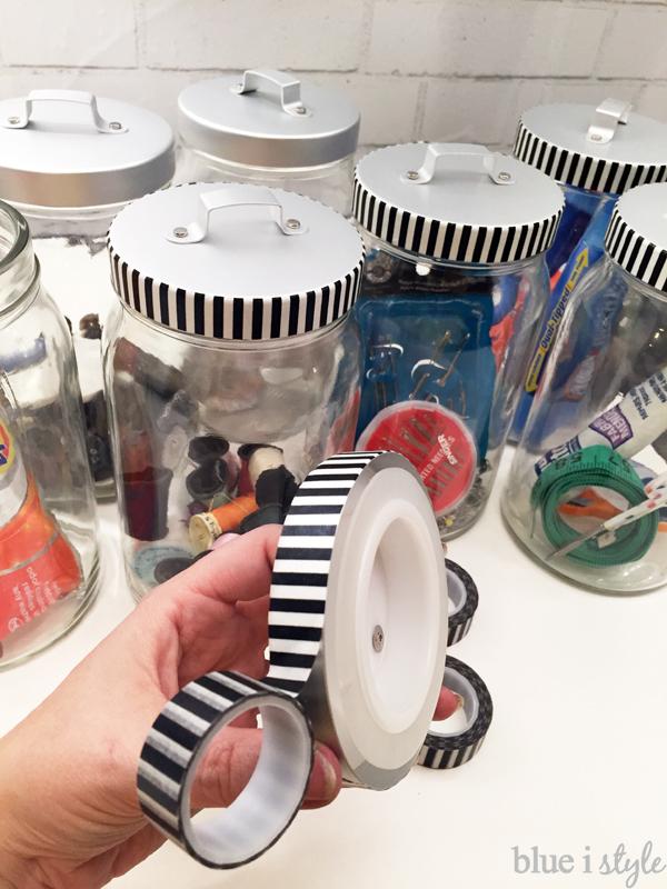 Washi tape on jar lids
