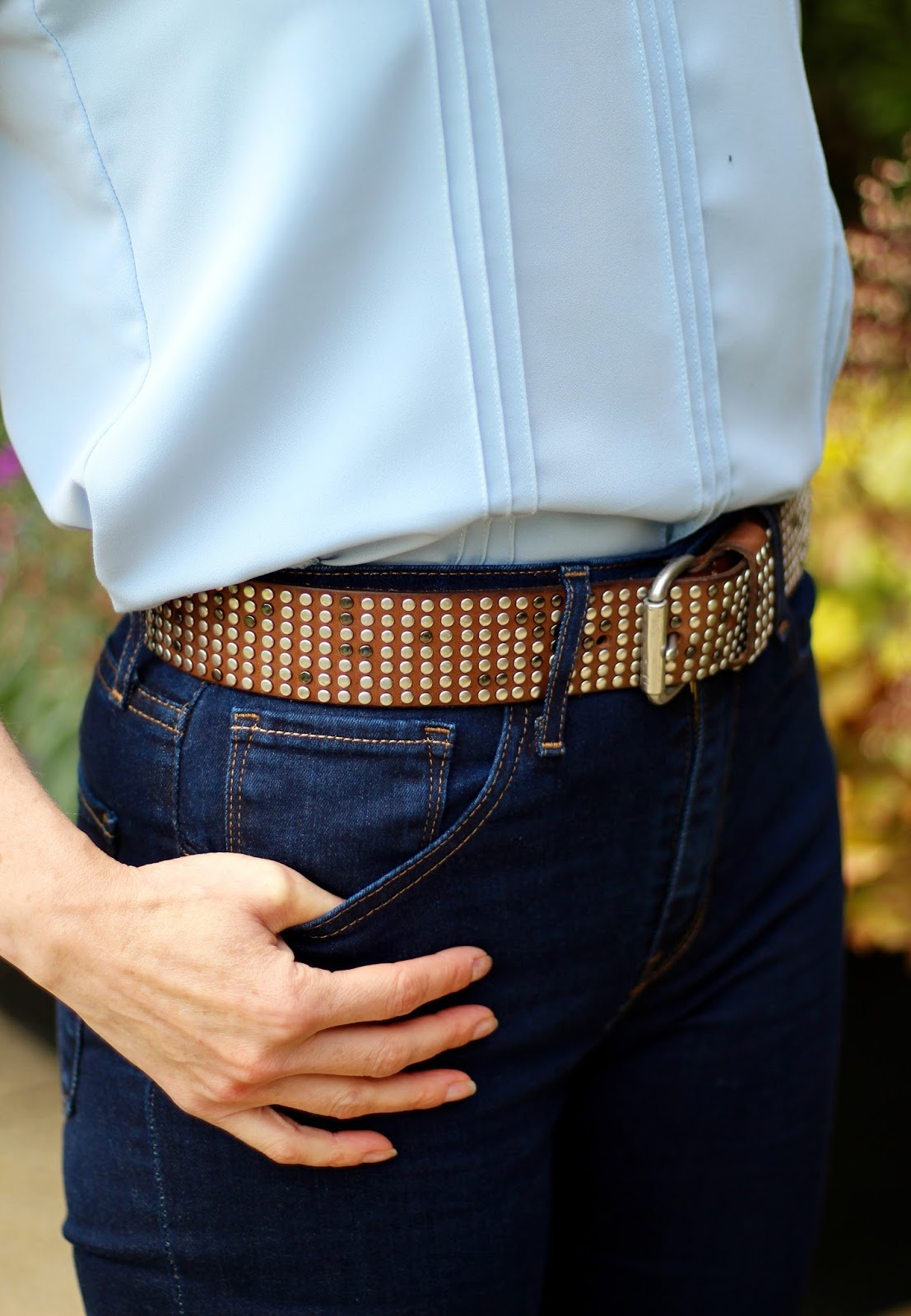 Brown Leather Jacket, Indigo Levis, studded belt | Fake Fabulous