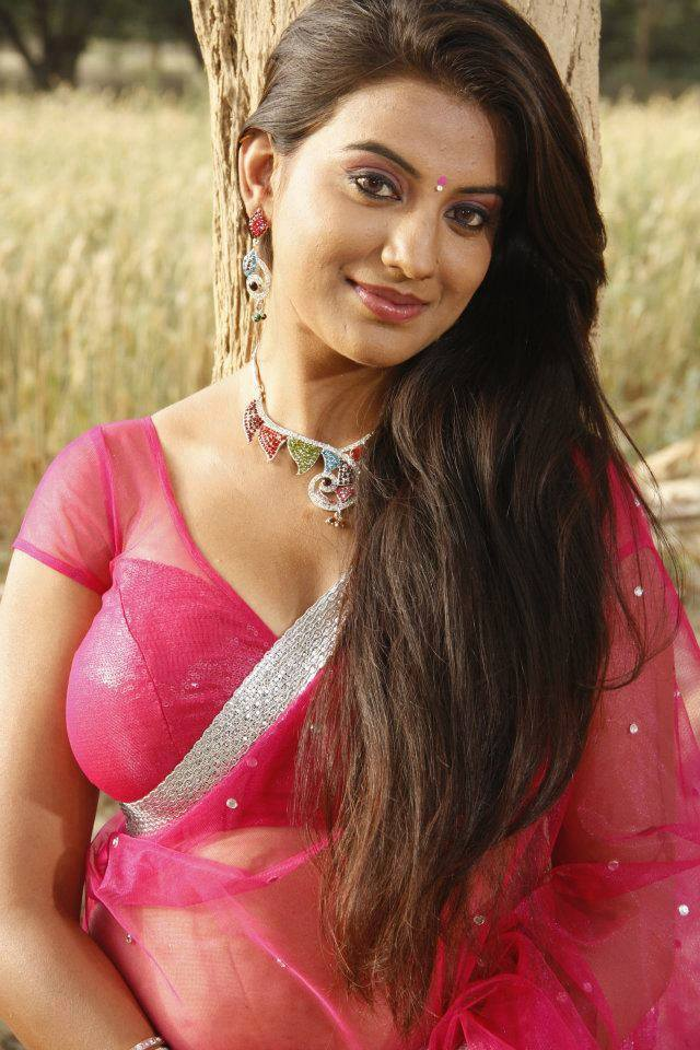 Bhojpuri hot Actress Akshara Singh in pink saree photo