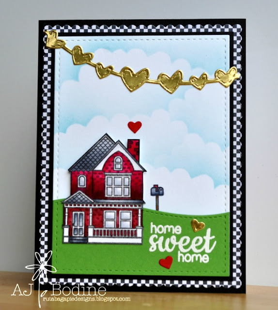 Sunny Studio:  Home Sweet Home card by AJ Bodine using Happy Home Stamp set