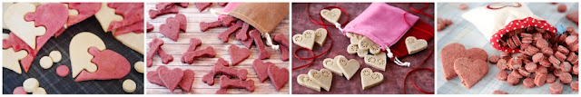 Homemade roll-and-cut heart shaped Valentine dog treats