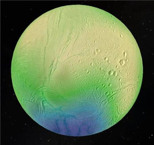 An ocean lies a few kilometers beneath Saturn's moon Enceladus's icy surface
