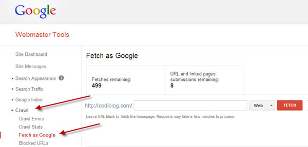 Index post fast by Fetch as Google tool