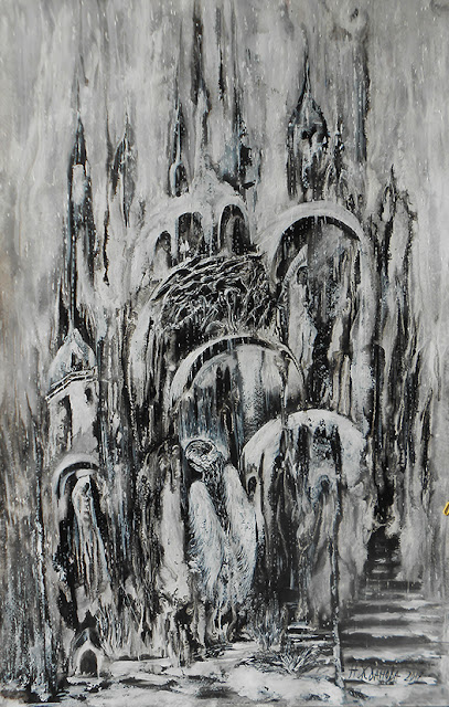 Original Abstract black and white painting The Return of the Angel