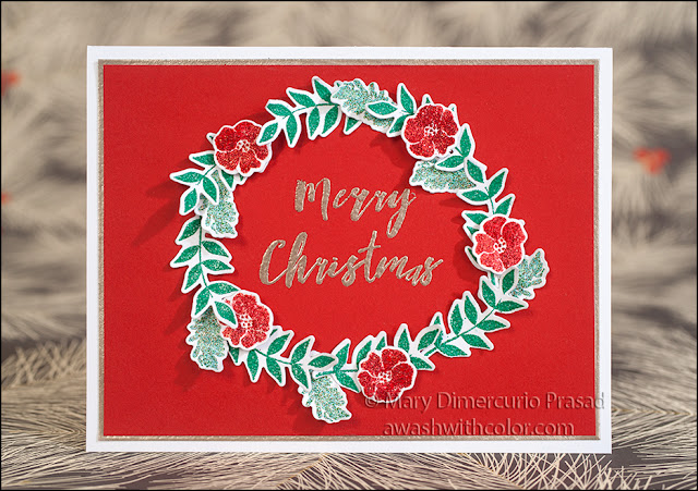 Rubbernecker Stamps Ranger Embossed Wreath Card
