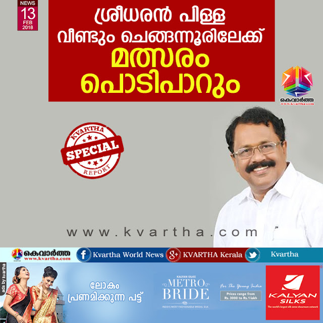 Sreedharan Pillai will contest at Chengannur again, Thiruvananthapuram, News, Politics, BJP, Election, BDJS, NSS, Kerala.