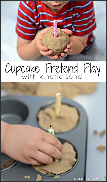 Cupcake pretend play with kinetic sand: fine motor sensory activity for kids from And Next Comes L